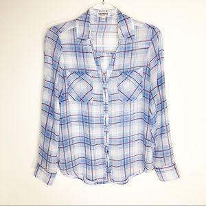 Express Portifino Shirt Blue Plaid